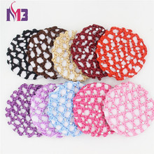 20PCS/lot Wholesales 10CM Fashion Women Diamond Hairnet Mesh Hair Cover Ponytail Stretch Bun Snood