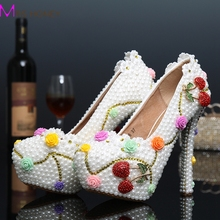 Sexy Ladies Customized White Pearl Cherry High Heels Luxury Diamond Flower Wedding Bridal Shoes Round Toe Prom Party High Heels