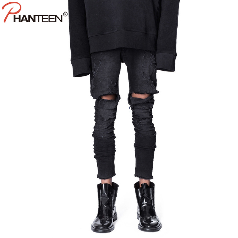 Phanteen Black Color Washed Man Jeans Ripped Thigh Hole Slim Fit Pencil Jeans Hiphop Street Style Fashion Men Brand Jeans