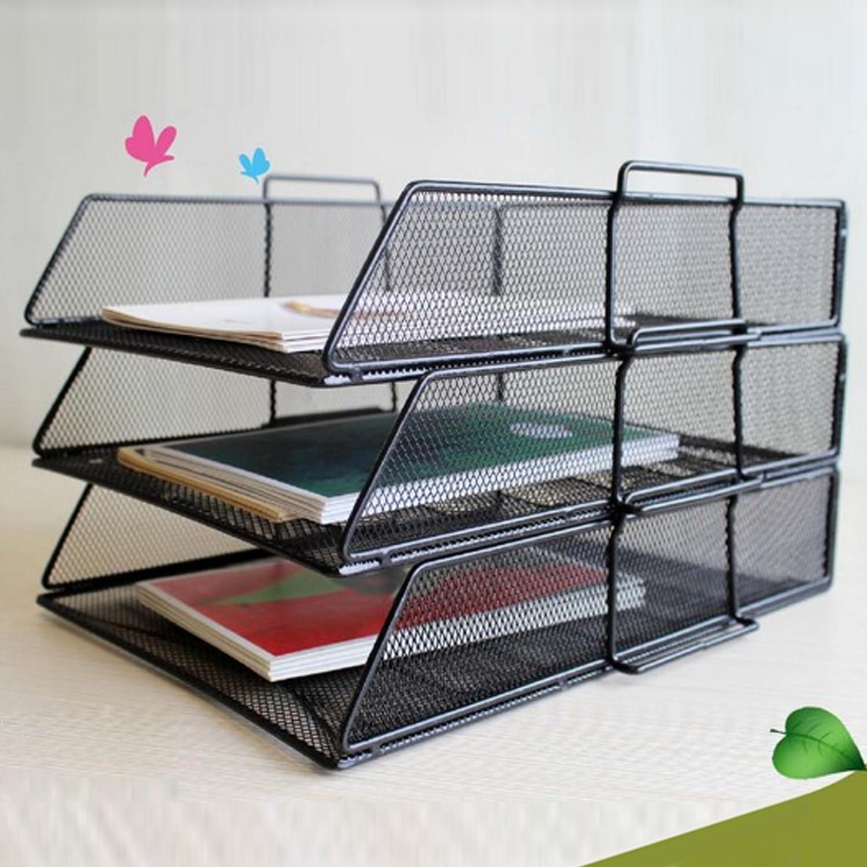 3-Tier Detachable PP Mesh File Holder Stand Organizer For Magazine Letter Paper Book Document Home Office Desk Storage Black