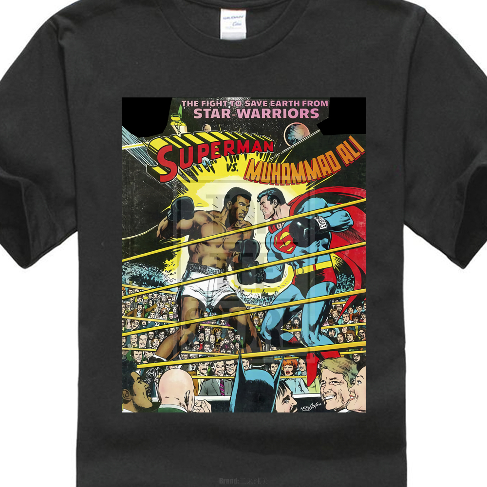 Superman Vs Muhammad Ali Comic Cover Men'S Gildan T Shirt Black Size S To 4Xl
