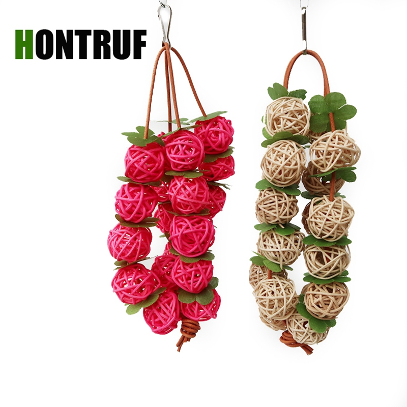 Budgerigar Cockatoo Agapornis Parrot Toy Parrot Supplies Bird Toy Supplies Wooden Bite Toy Rattan Ball Toy String
