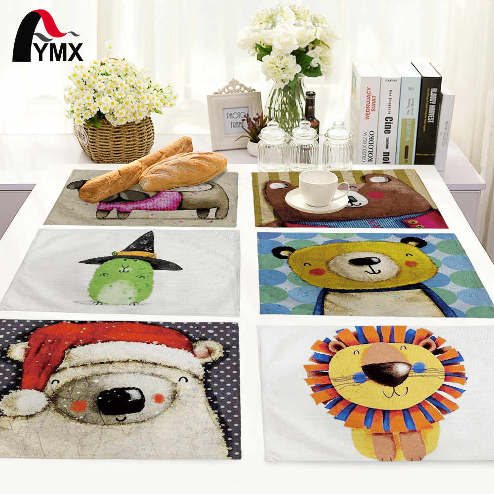 Tapis de Table Animal de bande dessinée mignon ours motif maison cuisine décoration serviettes de Table serviette de Table pour ensemble de mariage
