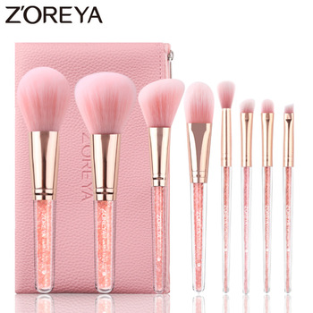 Zoreya Brand 8Pcs Pink Crystal Makeup Brush Set Eye Shadow Flawless Concealer Crease Eyebrow Foundation Brushes Face Brush Tools 1