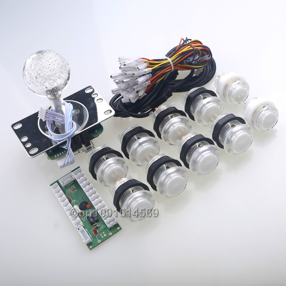 Arcade Control Panel <font><b>LED</b></font> Illuminated Bundle Kit <font><b>LED</b></font> <font><b>Joysticks</b></font>, 10 x <font><b>LED</b></font> Push Buttons USB Encoder &#038; Raspberry PI Retropie Project