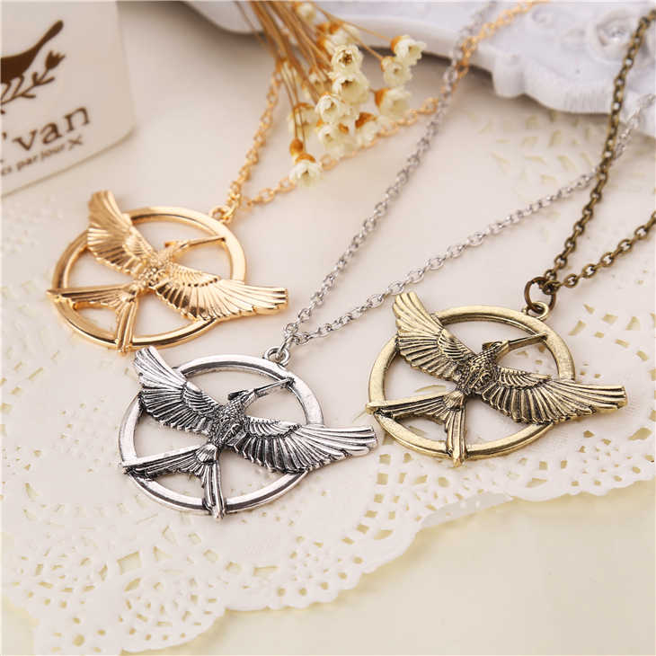 Hunger Games Necklace Bird Phoenix Eagle Animal Logo Pendant Vintage Fashion New Hot Movie Jewelry For Men Women Kids Wholesale