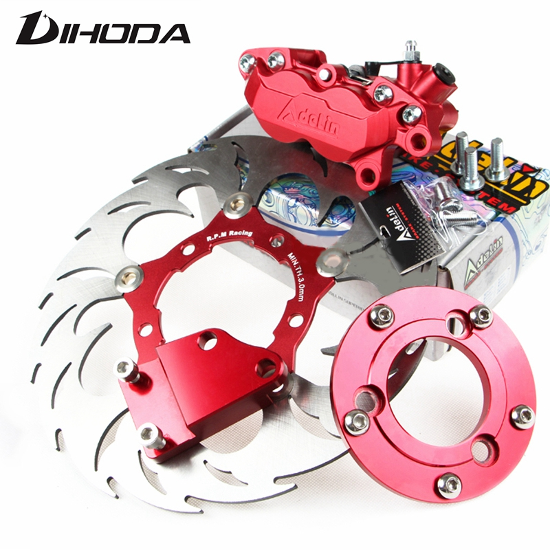 Motorcycle Brake discs 260mm ADL Brake Calipers Adapter/bracket For Rear Flat Fork Brake System For Scooter Motorbike Dirt Bike 320mm motorcycle fork rear nitrogen shock absorber for bws100 bws125 rd250 350 pit atv scooter motorbike colorful