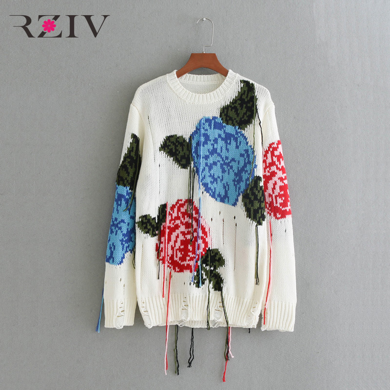 RZIV The fall of 2017 women s sweaters leisure pure color flowers jacquard tassels broken holes