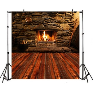 Image 4 - Laeacco Stone Wall Wooden Floor Fireplace Fire Wood  Photography Backgrounds Customized Photographic Backdrops For Photo Studio