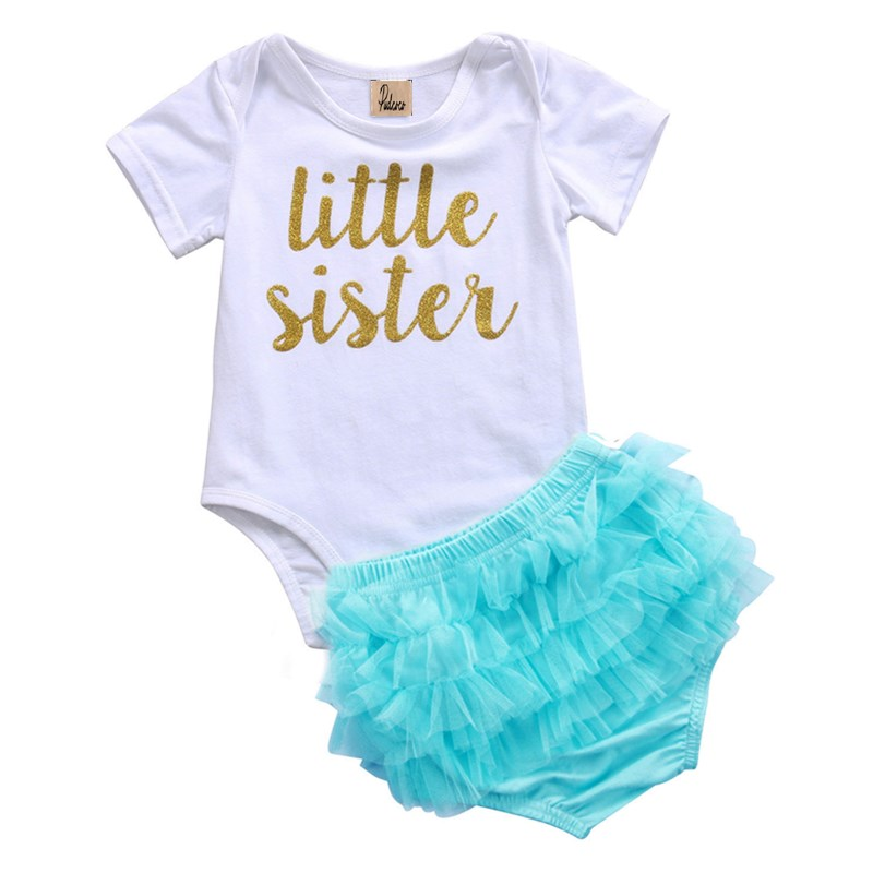 Newborn Infant Baby Girls Clothes Letter Short Sleeve Tops Romper Layered Ruffles Lace Tulle Tutu Shorts Kids Clothing Sets 0-2Y
