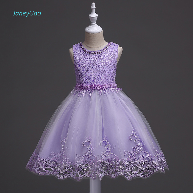 JaneyGao   Flower     Girl     Dresses   Beaded Elegant Purple Color with Appliques Lace New Fashion for Wedding Party