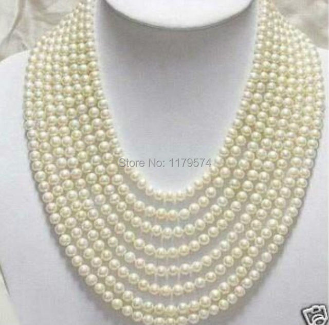 Hot new multi-storey girls all-match jewelry Beautiful 8 Rows 7-8mm White Freshwater Pearl Necklace free shipping  ZH0231
