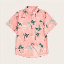 1c2c63a70 SweatyRocks الرجال أشجار جوز الهند طباعة منحني تنحنح قميص الشارع الشهير  قصيرة الأكمام قميص الذكور الملابس 2019 الصيف عارضة الورد.