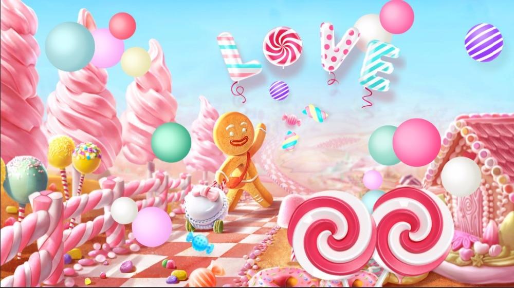糖果屋_7x5FT Clouds Sky Pink Candyland Love Ice Cream Candy Bar Beans House Custom Photo ...