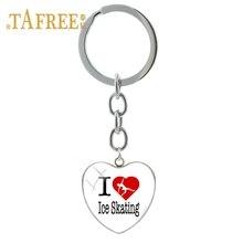 Купить с кэшбэком TAFREE I love ice skating  Heart Pendant Key Chain alloy key ring Dance Yoga Art picture women charms jewellery ST01