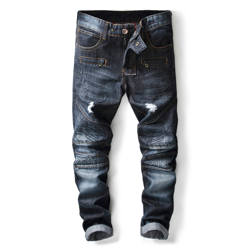 New arrival stylish mens dark blue biker ripped jeans patchwork zipper pantalones hip hop slim fit distressed denim pants men ...