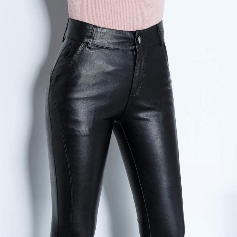 Mouton 2018 En Haute Pantalon Mince Polaire Longueur Crayon Streetwear Taille Dame Pleine Véritable Doublure Peau Fermeture Cuir Femme Bureau De Éclair Black rr4wX