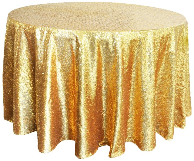 132 Round Tablecloth Polyester Tablecloths Table Cover Gold Sequin Wedding Cloth White