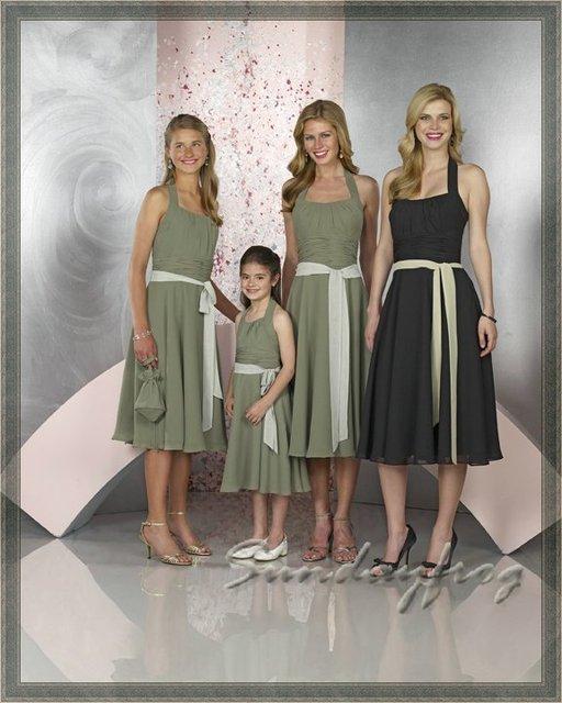 Custom Made Bridesmaid Dresses Ruched Halter Empire A-Line Chiffon Ruffle  Sash Butterfly Tie Bridal e83c06a78024