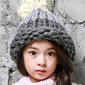 Осень и зима детская шлем вязания крючком высокого качества ручной модно керлинг грубая шерсть девочка шляпа ручной работы шерстяные шляпы