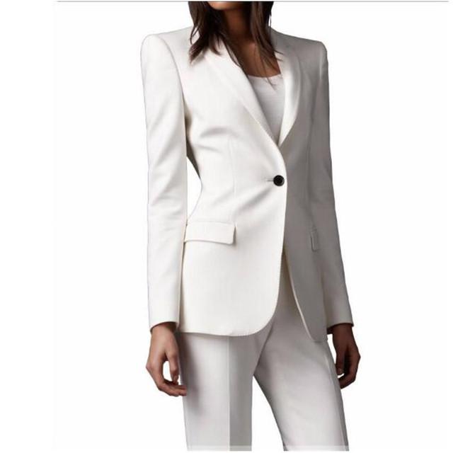 Alta qualidade Do Marfim mulheres smoking ternos Slim fit para as mulheres Lapela Um botão Personalizado mulheres ternos