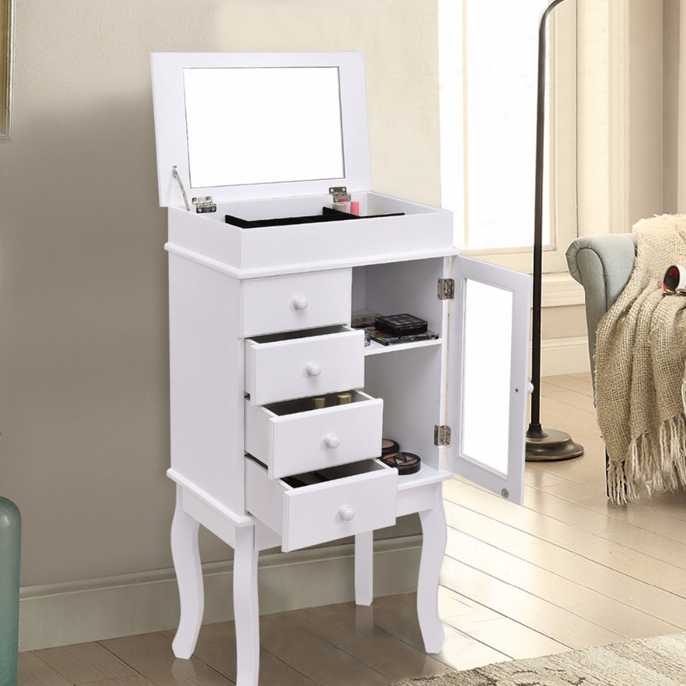 Goplus Mirrored Jewelry Cabinet Armoire Storage Chest Stand Modern