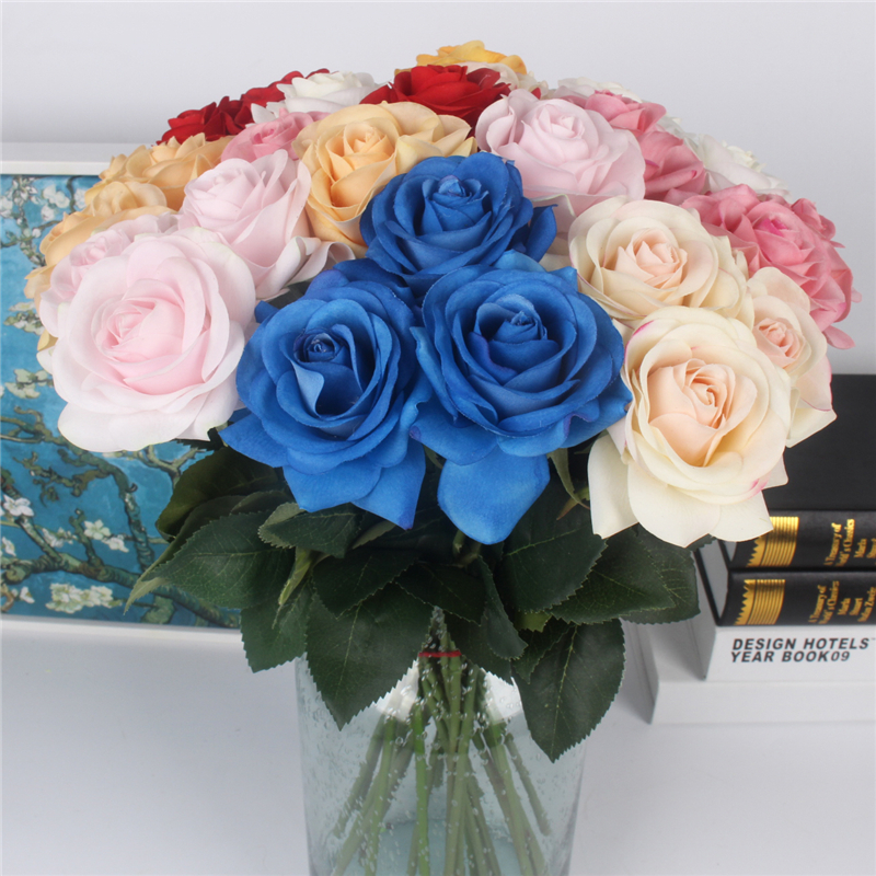 JAROWN Artificial Real Touch Hand Feel Rose Flowers For Valentine`s Day Preparation Wedding Decoration Home Decor (10)