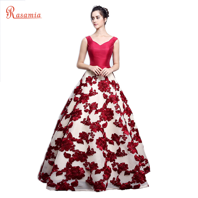 Lace Floral Evening Dress Red Gown Long Elegant Prom Dresses