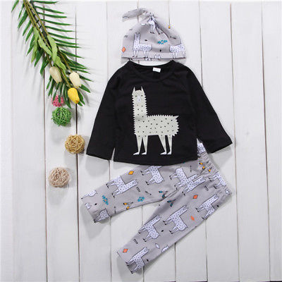 3Pcs Newborn Toddler Baby Alpaca Set Clothes 0-24M
