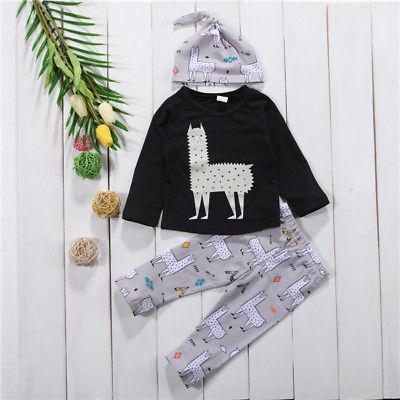 3Pcs Newborn Toddler Baby Alpaca Set Clothes 0-24M