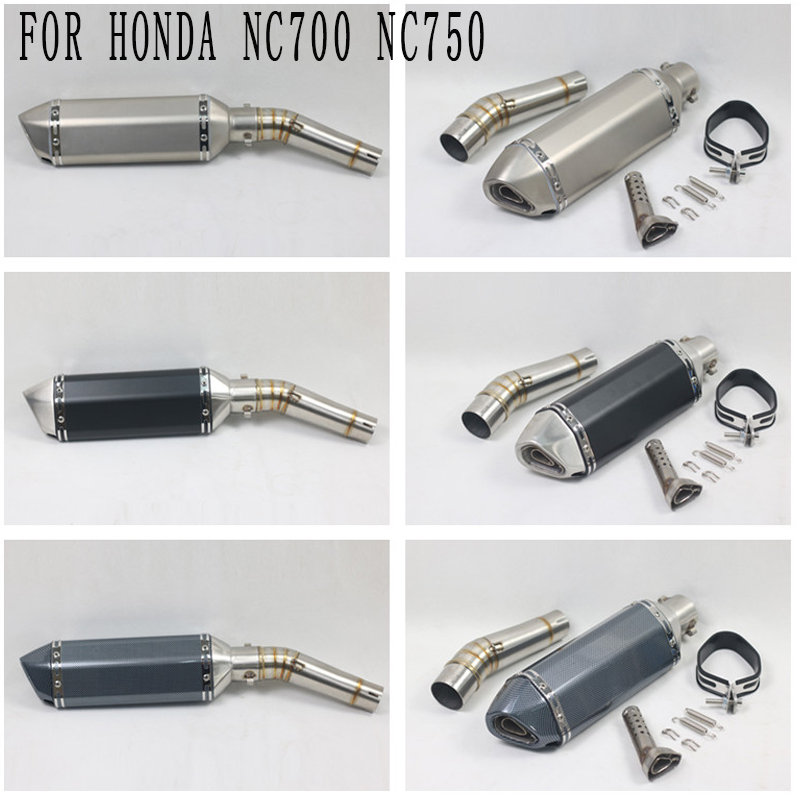 NC 700 NC750 Motorcycle Modified Full System Exhaust Middle Link Pipe Motorbike Muffler With DB Killer