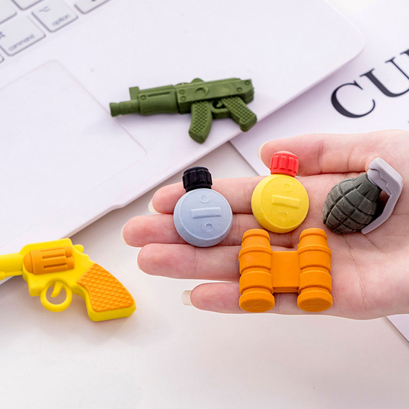 4pcs/box Weapon Rubber Eraser Gomas De Borrar School Stationery Supplies Erasers For Kids Promotion Borracha Escolar