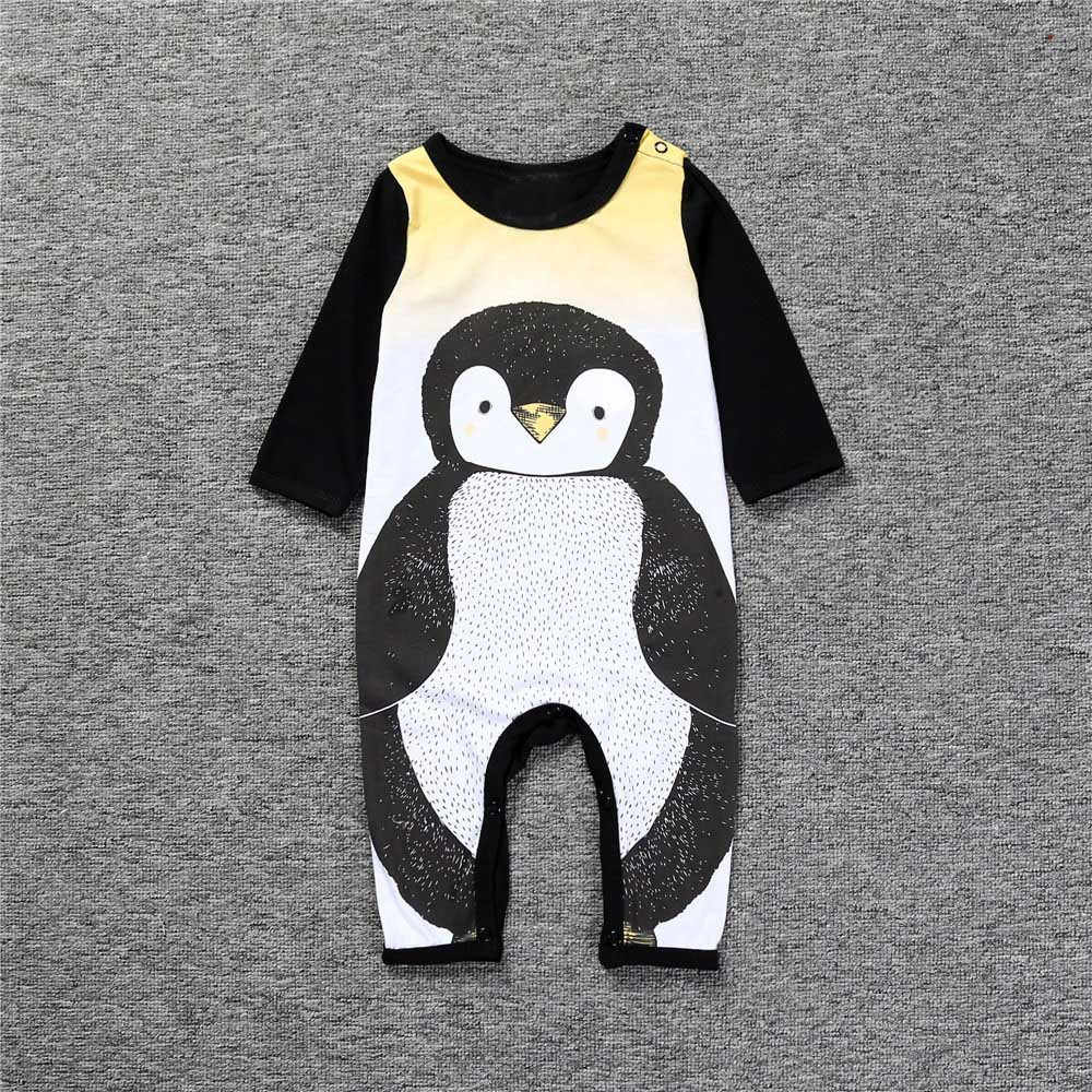 Hot sale funny baby clothes Newborn Baby Boy Girl Cute Penguin Cartoon Pattern Jumpsuit Romper Outfits Clothes fashion