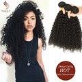 8A Kinky Curly Virgin Hair With Closure 3/4 Bundles Curly Human Hair With Closure Steam Hair Peruvian Virgin Hair With Closure