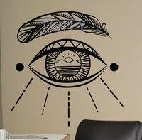 눈 민속 벽 스티커 네이티브 미국인 비닐 데칼 깃털 장식 홈 실내 장식 침실 사무실 아트 벽화