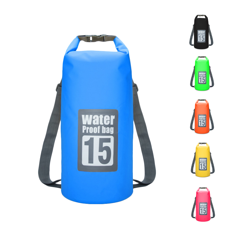 Waterproof Bag PVC Waterproof Bag Swimming Beach Drifting Bag Double Shoulder Water Proof Bag 10L 15L 20L