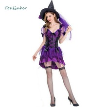 Halloween Gorgeous Sexy Witch Purple Costume Cosplay  Party Carnival Sequin Dress+Hat Witch Cosplay Stage Costume цены онлайн