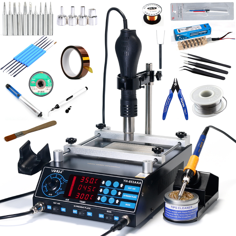 YIHUA 853AAA Preheating Station 3 In 1 BGA Rework Station Soldering Irons Hot Air Desoldering Station With Hot Air Gun Stand