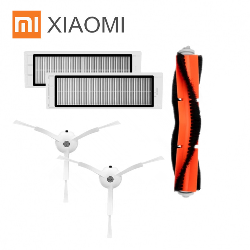 5pcs/lot Suitable for Xiaomi Mi Robot Vacuum Cleaner parts side brush X2PC, HEPA filter X2PC, main brush X1PC