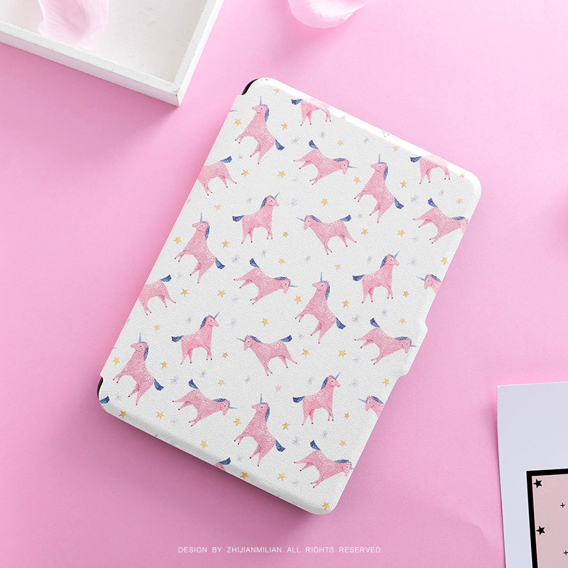Cartoon Unicorn Magnet PU Flip Cover for Amazon Kindle Paperwhite 1 2 3 449 558 Case 6 inch Ebook Tablet Case Leather Case pink marble grain magnet pu flip cover for amazon kindle paperwhite 1 2 3 449 558 case 6 inch ebook tablet case leather case