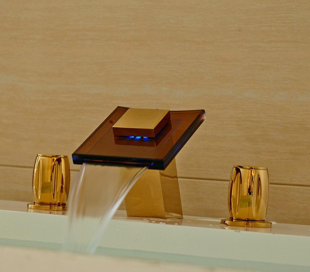 Widesprad 3 Holes Bathroom Sink Faucet LED Light Glass Spout Mixer Tap Gold