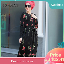 2019 Muslim Dress  Womens Fashionable Rose Long Robe Gowns Tunic Jubah Middle East Ramadan Arab Islamic