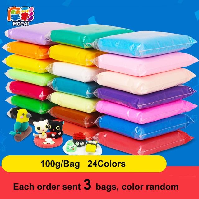 3 packs/set 24 Colors DIY Air Dry Colored Clay Cold Porcelain Play Dough, Children Foam Clay Kids Intelligent Plasticine
