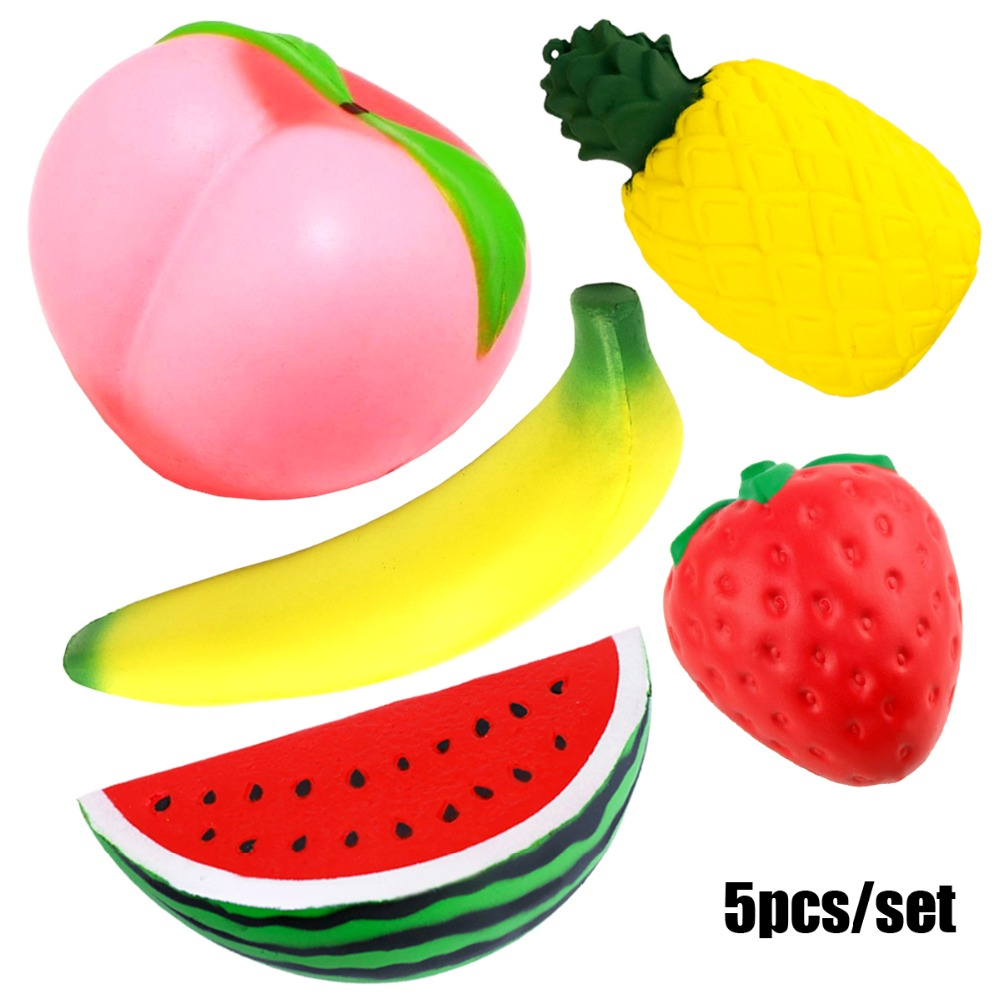 Soft Squish Fruit Anti-stress Cute Squishy Set Jumbo Peach Watermelon Strawberry Slow Rising Food Antistress Squishy Package Toy