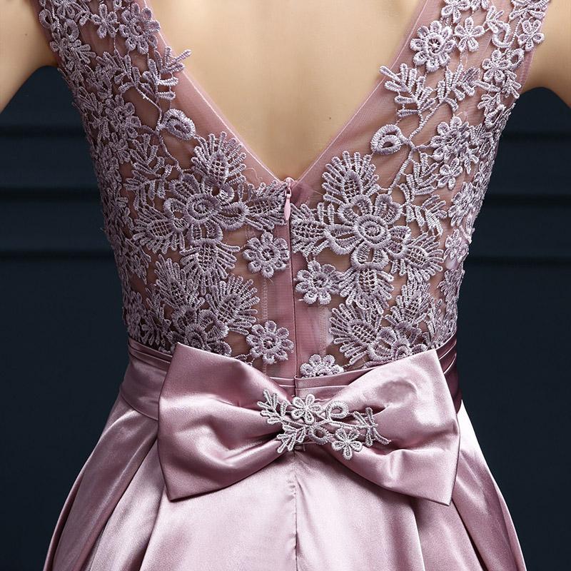 Embroidery Shoulder Straps Satin Long Evening Dress 2