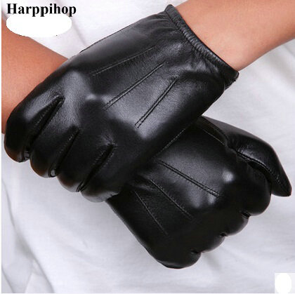 Black and brown Spring Genuine Leather Glovess