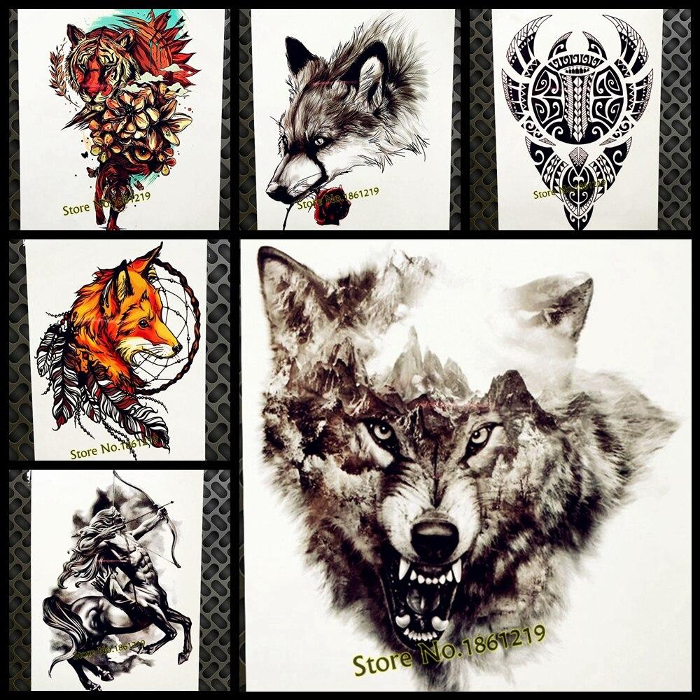Sanft Black Mountain Wolf Temporäre Tattoo Aufkleber Wasserdichte Tattoo Hill Wald Wolf Totem Körperkunst Arm Tatoo Frauen Beine Brust Reinweiß Und LichtdurchläSsig Schönheit & Gesundheit
