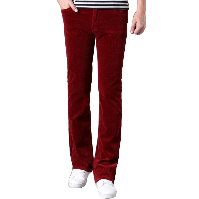 Primavera E Autunno Dei Jeans Degli Uomini Di Casual Micro Campana A Fondo Piatto Di Velluto A Coste Pantaloni Versione Coreana Del Tratto Sottile Largo Pantaloni Gamba