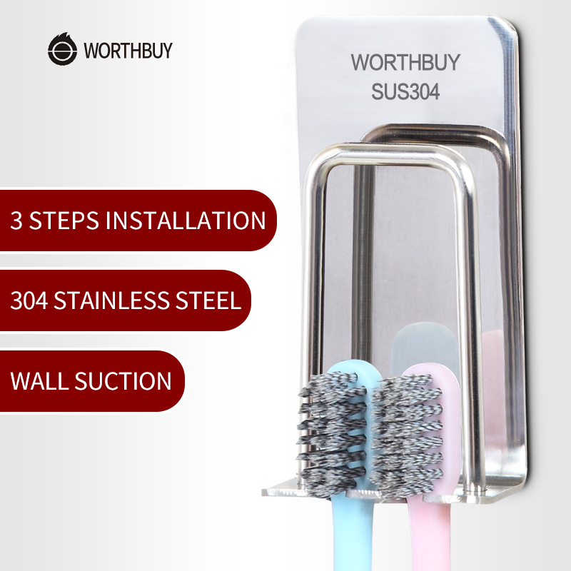 WORTHBUY Creative Toothbrush Holder 304 Stainless Steel Toothpaste Holder Wall Suction Cup Brush Holder Bathroom Accessories creative ceramic schedule mug w sponge rubber suction cup pen holder pencil white