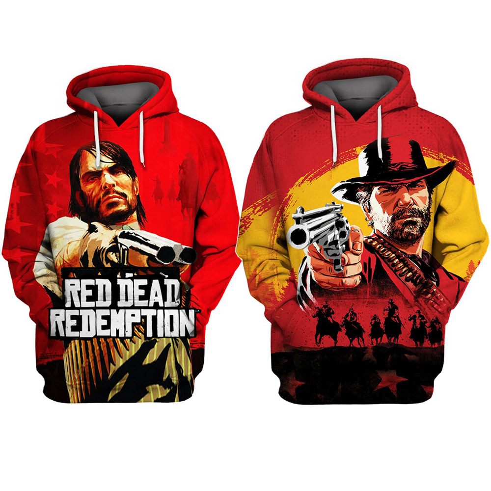 Red Dead Redemption 2 Hoodie Cosplay John Marston And Morgan Costume 3D Long Sleeve Hooded Jacket Cool Sweatshirt Tops Coat
